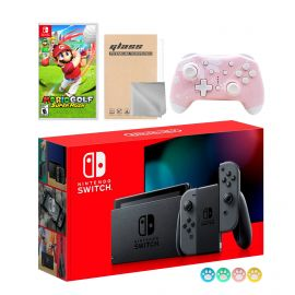 Nintendo Switch Gray Joy-Con Console Set, Bundle With Mario Golf: Super Rush And Mytrix Wireless Switch Pro Controller and Accessories