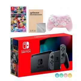 Nintendo Switch Gray Joy-Con Console Set, Bundle With Mario Kart 8 Deluxe And Mytrix Wireless Switch Pro Controller and Accessories