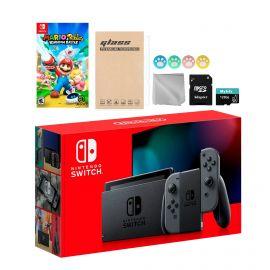 Nintendo Switch Gray Joy-Con Console Set, Bundle With Mario Rabbids Kingdom Battle And Mytrix Accessories