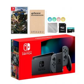 Nintendo Switch Gray Joy-Con Console Set, Bundle With Monster Hunter: Rise And Mytrix Accessories