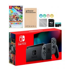 Nintendo Switch Gray Joy-Con Console Set, Bundle With Paper Mario: The Origami King And Mytrix Accessories