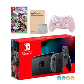 Nintendo Switch Gray Joy-Con Console Set, Bundle With Splatoon 2 And Mytrix Wireless Switch Pro Controller and Accessories
