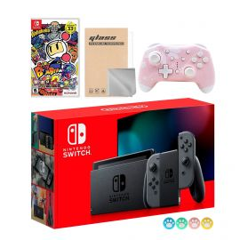 Nintendo Switch Gray Joy-Con Console Set, Bundle With Super Bomberman R And Mytrix Wireless Switch Pro Controller and Accessories