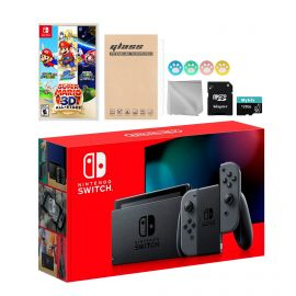Nintendo Switch Gray Joy-Con Console Set, Bundle With Super Mario 3D All-Stars And Mytrix Accessories