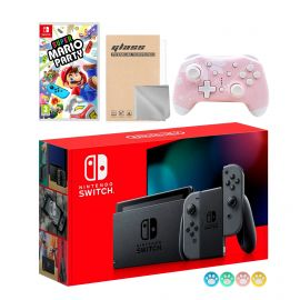 Nintendo Switch Gray Joy-Con Console Set, Bundle With Super Mario Party And Mytrix Wireless Pro Controller and Accessories