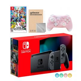 Nintendo Switch Gray Joy-Con Console Set, Bundle With Super Smash Bros. Ultimate And Mytrix Wireless Switch Pro Controller and Accessories