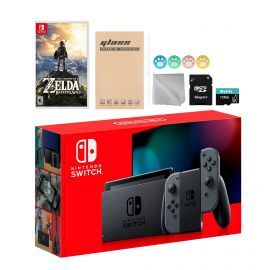 Nintendo Switch Gray Joy-Con Console Set, Bundle With Zelda: Breath of the Wild And Mytrix Accessories