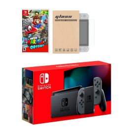 Nintendo Switch Gray Joy-Con Console Super Mario Odyssey Bundle, with Mytrix Tempered Glass Screen Protector - Improved Battery Life Console with the Best Super Mario Game