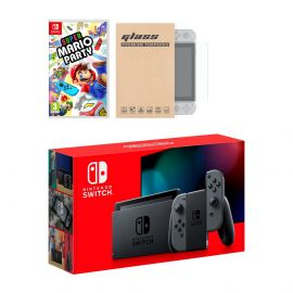 Nintendo Switch Gray Joy-Con Console Super Mario Party Bundle, with Mytrix Tempered Glass Screen Protector - Improved Battery Life Console with the Best Party Game