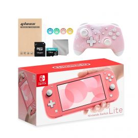 Nintendo Switch Lite 10 in 1 Combo: NS Lite Coral Pink 32GB Console, Mytrix Sakura Wireless Pro Controller, and Mytrix Accessories Bundle for Nintendo Switch Lite and More