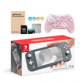 Nintendo Switch Lite 10 in 1 Combo: NS Lite Gray 32GB Console, Mytrix Sakura Wireless Pro Controller, and Mytrix Accessories Bundle for Nintendo Switch Lite and More