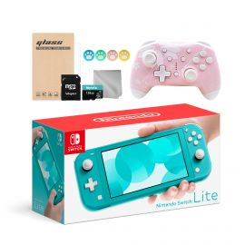 Nintendo Switch Lite 10 in 1 Combo: NS Lite Turquoise 32GB Console, Mytrix Sakura Wireless Pro Controller, and Mytrix Accessories Bundle for Nintendo Switch Lite and More