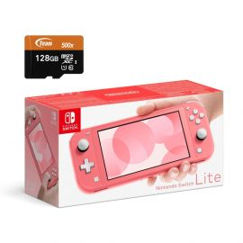 Nintendo Switch Lite Console - Coral - With 128GB Micro SD Card and Adapter