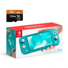 Nintendo Switch Lite Console - Turquoise - With 128GB Micro SD Card and Adapter