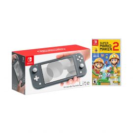 Nintendo Switch Lite Gray Bundle with Super Mario Maker 2 NS Game Disc - 2019 New Game!