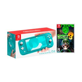 Nintendo Switch Lite Turquoise Bundle with Luigi's Mansion 3 NS Game Disc - 2019 New Game!