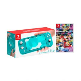 Nintendo Switch Lite Turquoise Bundle with Mario Kart 8 Deluxe NS Game Disc - 2019 Best Game!