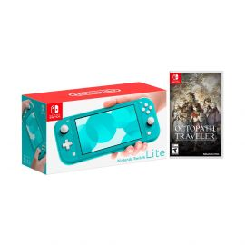 Nintendo Switch Lite Turquoise Bundle with Octopath Traveler NS Game Disc - 2019 New Game!