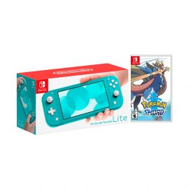 Nintendo Switch Lite Turquoise Bundle with Pokémon Sword NS Game Disc - 2019 New Game!