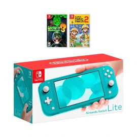 Nintendo Switch Lite Turquoise Console Bundle with 2 Games:  Luigi's Mansion 3, and Super Mario Maker 2. 2019 Latest Console and Games!