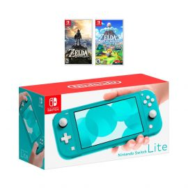 Nintendo Switch Lite Turquoise Console Bundle with 2 Games:  The Legend of Zelda: Breath of the Wild, and The Legend of Zelda Link's Awakening. 2019 Latest Console and Games!