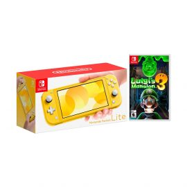 Nintendo Switch Lite Yellow Bundle with Luigi's Mansion 3 NS Game Disc - 2019 New Game!