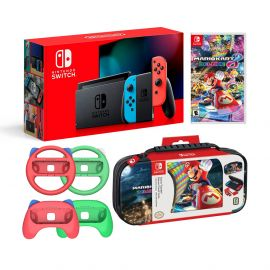Nintendo Switch Mario Kart 8 Deluxe Bundle: Red and Blue Joy-Con Improved Battery Life 32GB Console, Red and Green Joy-Con Grip Set of 4, Mario Kart 8 Deluxe Game Disc and Travel Case