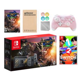 Nintendo Switch Monster Hunter Limited Console Set Plus Monster Hunter Rise Deluxe Edition, Bundle w/ 1-2 Switch And Mytrix Wireless Switch Pro Controller and Accessories