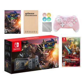 Nintendo Switch Monster Hunter Limited Console Set Plus Monster Hunter Rise Deluxe Edition, Bundle w/ Hyrule Warriors: Age of Calamity And Mytrix Wireless Switch Pro Controller and Accessories