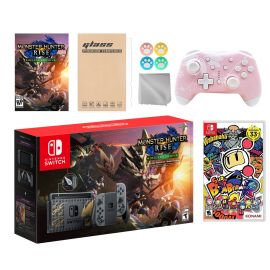Nintendo Switch Monster Hunter Limited Console Set Plus Monster Hunter Rise Deluxe Edition, Bundle w/ Super Bomberman R And Mytrix Wireless Switch Pro Controller and Accessories