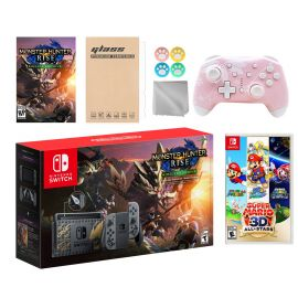 Nintendo Switch Monster Hunter Limited Console Set Plus Monster Hunter Rise Deluxe Edition, Bundle w/ Super Mario 3D All-Stars And Mytrix Wireless Switch Pro Controller and Accessories