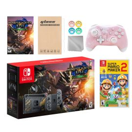 Nintendo Switch Monster Hunter Limited Console Set Plus Monster Hunter Rise Deluxe Edition, Bundle w/ Super Mario Maker 2 And Mytrix Wireless Switch Pro Controller and Accessories