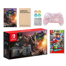 Nintendo Switch Monster Hunter Limited Console Set Plus Monster Hunter Rise Deluxe Edition, Bundle w/ Super Mario Odyssey And Mytrix Wireless Switch Pro Controller and Accessories