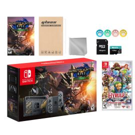 Nintendo Switch Monster Hunter Limited Console Set Plus Monster Hunter Rise Deluxe Edition, Bundle With Hyrule Warriors And Mytrix Accessories
