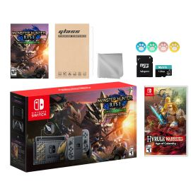 Nintendo Switch Monster Hunter Limited Console Set Plus Monster Hunter Rise Deluxe Edition, Bundle With Hyrule Warriors: Age of Calamity And Mytrix Accessories