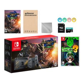 Nintendo Switch Monster Hunter Limited Console Set Plus Monster Hunter Rise Deluxe Edition, Bundle With Luigi's Mansion 3 And Mytrix Accessories