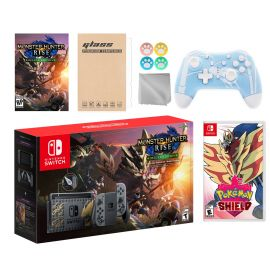 Nintendo Switch Monster Hunter Limited Console Set Plus Monster Hunter Rise Deluxe Edition, Bundle With Pokemon Shield And Mytrix Wireless Switch Pro Controller and Accessories
