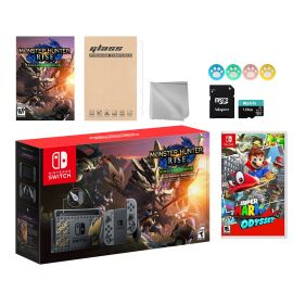 Nintendo Switch Monster Hunter Limited Console Set Plus Monster Hunter Rise Deluxe Edition, Bundle With Super Mario Odyssey And Mytrix Accessories