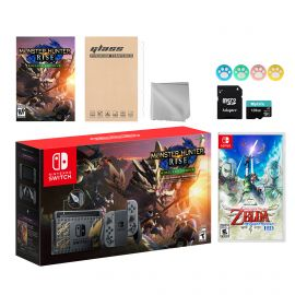 Nintendo Switch Monster Hunter Limited Console Set Plus Monster Hunter Rise Deluxe Edition, Bundle With The Legend of Zelda: Skyward Sword HD And Mytrix Accessories