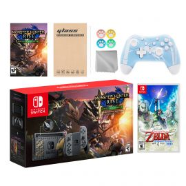 Nintendo Switch Monster Hunter Limited Console Set Plus Monster Hunter Rise Deluxe Edition, Bundle With The Legend of Zelda: Skyward Sword HD And Mytrix Wireless Switch Pro Controller and Accessories