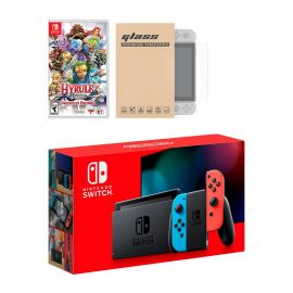 Nintendo Switch Neon Red Blue Joy-Con Console Hyrule Warriors: Definitive Edition Bundle, with Mytrix Tempered Glass Screen Protector - Improved Battery Life Console with NS Game Disc