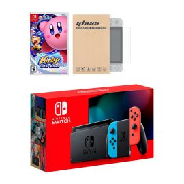 Nintendo Switch Neon Red Blue Joy-Con Console Kirby Star Allies Bundle, with Mytrix Tempered Glass Screen Protector - Improved Battery Life Console with the Great Kirby Game