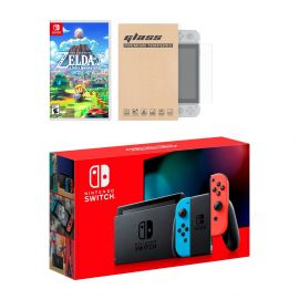 Nintendo Switch Neon Red Blue Joy-Con Console Legend of Zelda Link's Awakening Bundle, with Mytrix Tempered Glass Screen Protector - Improved Battery Life Console with the New Zelda Game