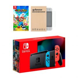 Nintendo Switch Neon Red Blue Joy-Con Console Mario Rabbids Kingdom Battle Bundle, with Mytrix Tempered Glass Screen Protector - Improved Battery Life Console with NS Game Disc