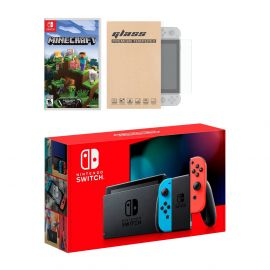 Nintendo Switch Neon Red Blue Joy-Con Console Minecraft Bundle, with Mytrix Tempered Glass Screen Protector - Improved Battery Life Console with the Most Popular Game
