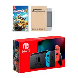 Nintendo Switch Neon Red Blue Joy-Con Console Overcooked! 2 Bundle, with Mytrix Tempered Glass Screen Protector - Improved Battery Life Console with the Best Party Game
