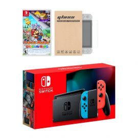 Nintendo Switch Neon Red Blue Joy-Con Console Paper Mario: The Origami King Bundle, with Mytrix Tempered Glass Screen Protector - Improved Battery Life Console with 2020 New Game