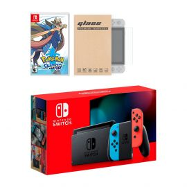 Nintendo Switch Neon Red Blue Joy-Con Console Pokemon Sword Bundle, with Mytrix Tempered Glass Screen Protector - Improved Battery Life Console with the Best Pokemon Game
