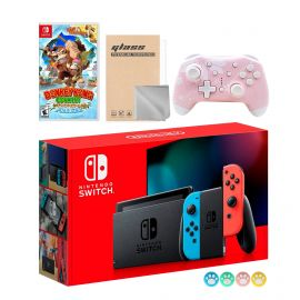 Nintendo Switch Neon Red Blue Joy-Con Console Set, Bundle With Donkey Kong Country And Mytrix Wireless Pro Controller and Accessories