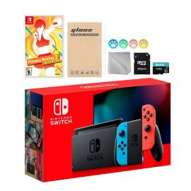 Nintendo Switch Neon Red Blue Joy-Con Console Set, Bundle With Fitness Boxing 2: Rhythm & Exercise And Mytrix Accessories